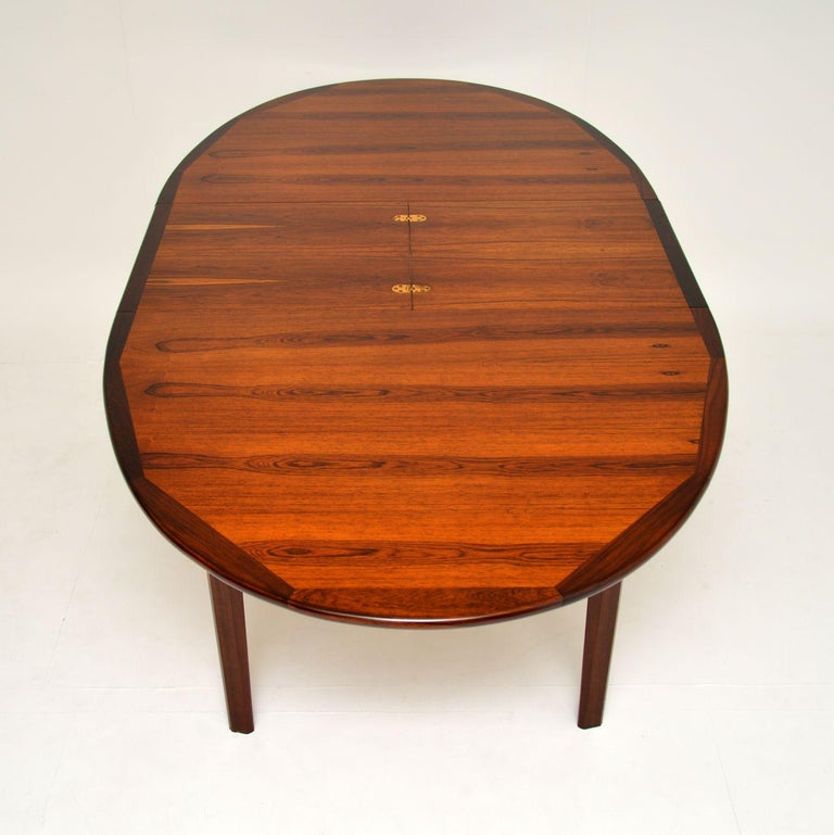 Rosewood 1960s Danish Extending Dining Table For Sale