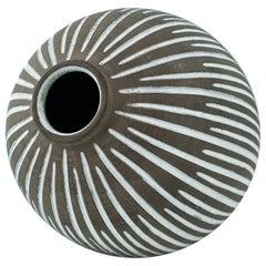 1960s Danish Female Artist Studio Pottery Gourd Vase Sphere Stoneware Sculpture
