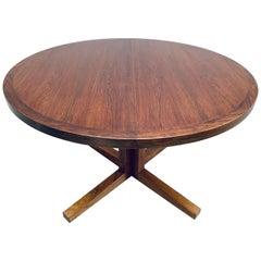 1960s Danish Heltborg Mobler Rosewood Pedestal Dining Table by John Mortensen