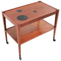 1960s Danish Kvalitet Form Funktion Teak Trolley Coffee Table Midcentury