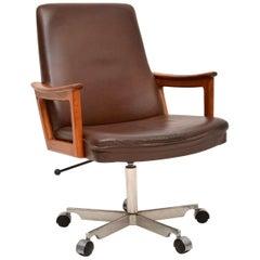 1960s Danish Leather and Teak Swivel Desk Chair
