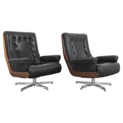 1960s Danish Leather Armchairs, a Pair