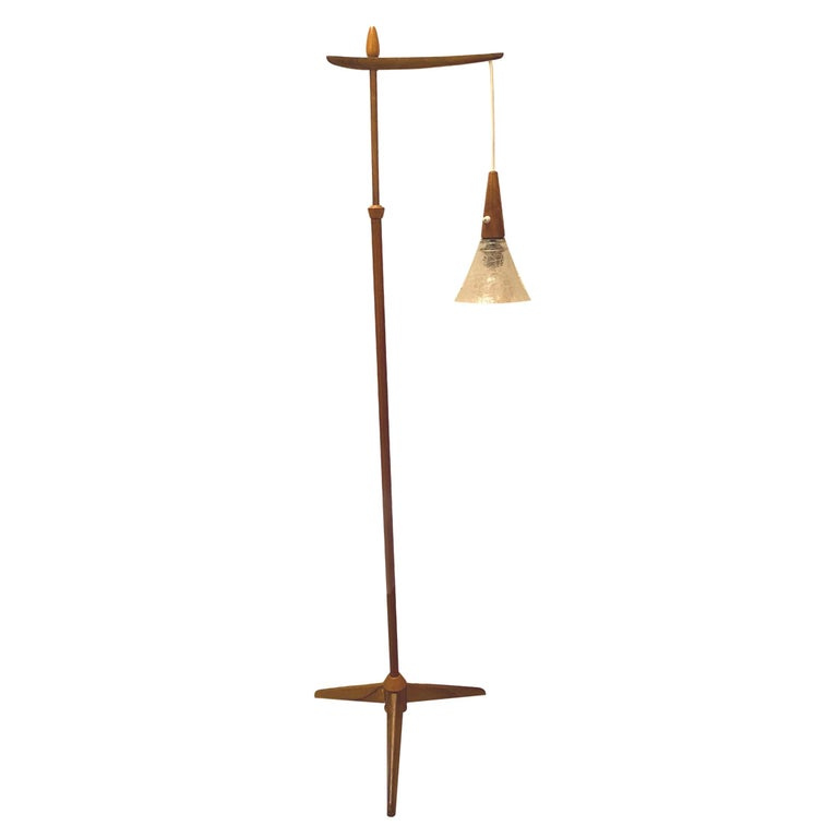 1960s Danish Mid-Century Modern Wood Tripod Leg Floor Lamp with Glass Shade For Sale