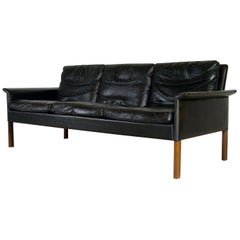 1960s Danish Midcentury Black Leather Sofa by Hans Olsen for Christian Sorensen