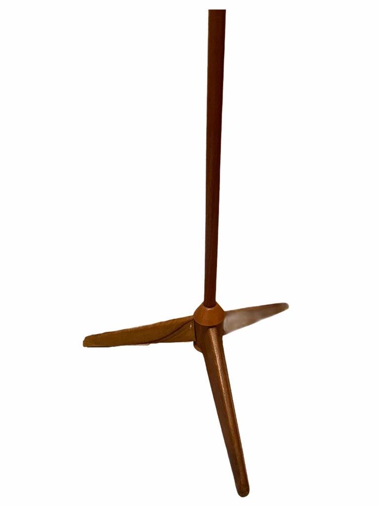 1960s Danish Mid-Century Modern Wood Tripod Leg Floor Lamp with Glass Shade For Sale 5