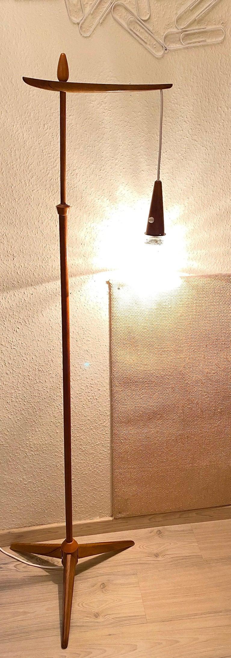 1960s Danish Mid-Century Modern Wood Tripod Leg Floor Lamp with Glass Shade For Sale 6