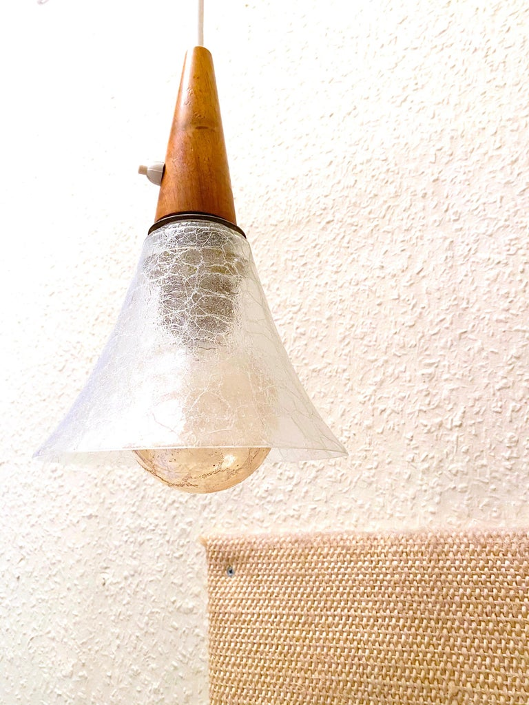 German 1960s Danish Mid-Century Modern Wood Tripod Leg Floor Lamp with Glass Shade For Sale