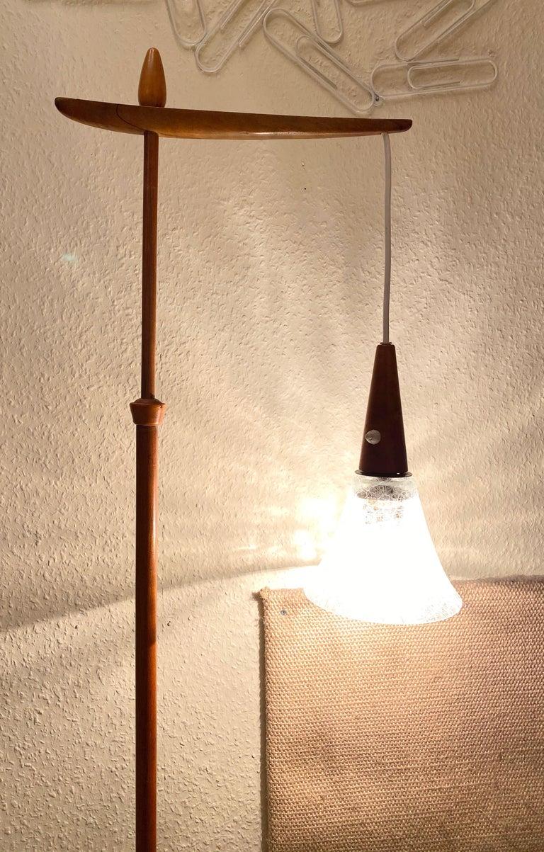 Mid-20th Century 1960s Danish Mid-Century Modern Wood Tripod Leg Floor Lamp with Glass Shade For Sale