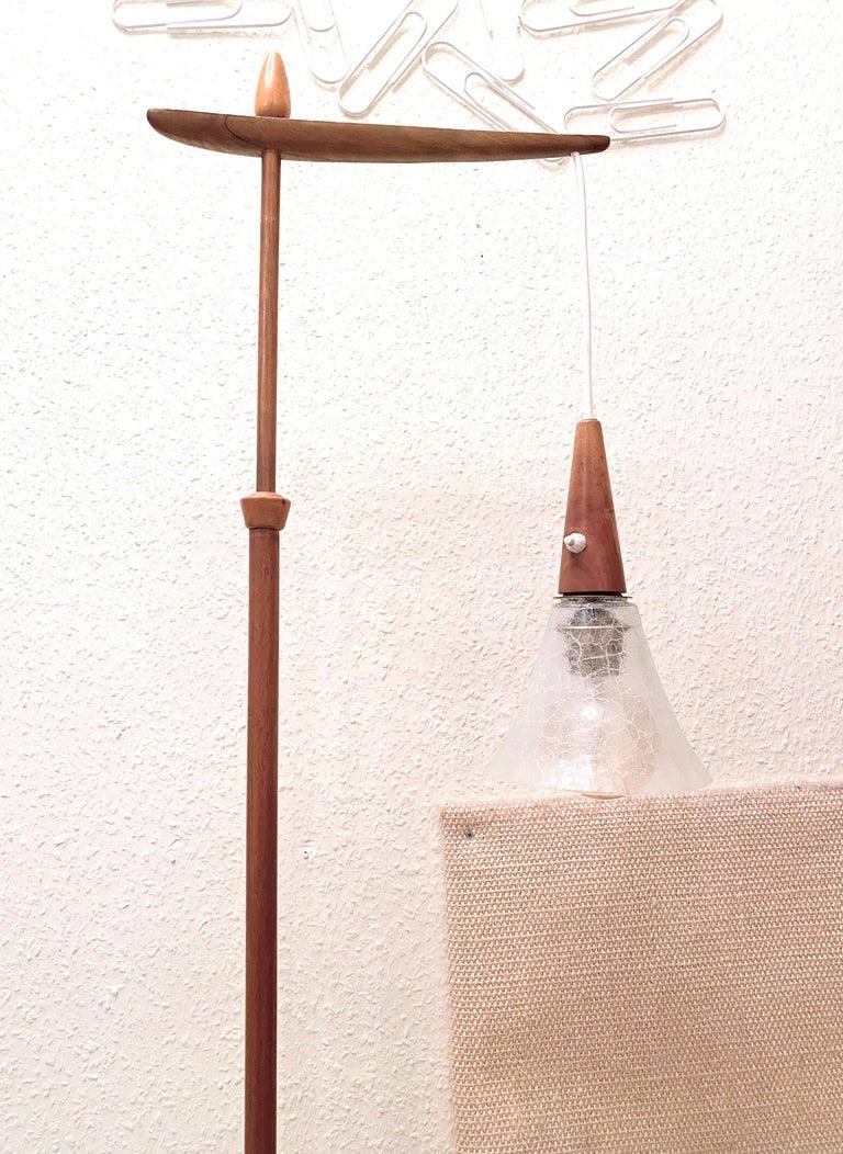 1960s Danish Mid-Century Modern Wood Tripod Leg Floor Lamp with Glass Shade For Sale 1