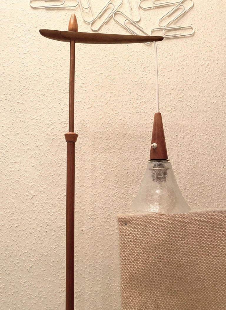 1960s Danish Mid-Century Modern Wood Tripod Leg Floor Lamp with Glass Shade For Sale 3