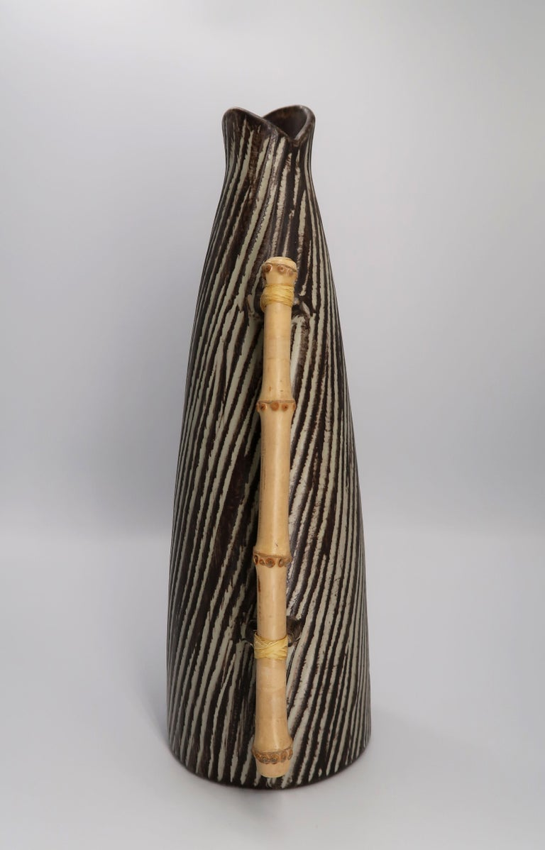 Glazed 1960s Danish Modern Ceramic Pitcher Vase with Bamboo Handle by Jette Hellerøe For Sale