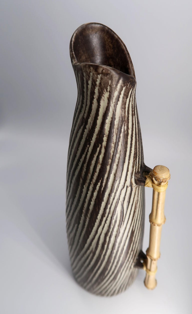 1960s Danish Modern Ceramic Pitcher Vase with Bamboo Handle by Jette Hellerøe In Good Condition For Sale In Frederiksberg, DK