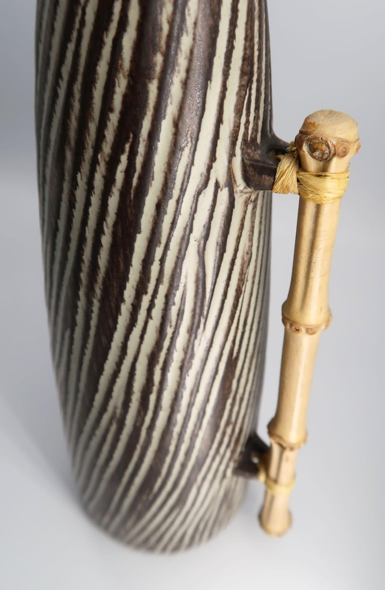 1960s Danish Modern Ceramic Pitcher Vase with Bamboo Handle by Jette Hellerøe For Sale 2