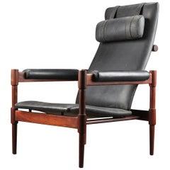 1960s Danish Modern Highback Midcentury Lounge Chair in Rosewood