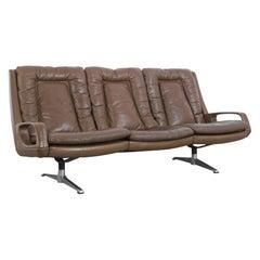 1960s Danish Modern Leather Sofa