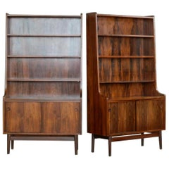 1960s Danish Modern Midcentury Pair of Bookcases in Rosewood by Johannes Sorth