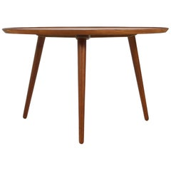 1960s Danish Modern Round Tripod Teak Coffee Table Mid-Century Modern Design