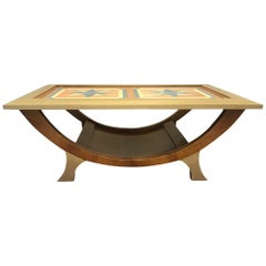 1960s Danish Modern Style Inlay Coffee Table