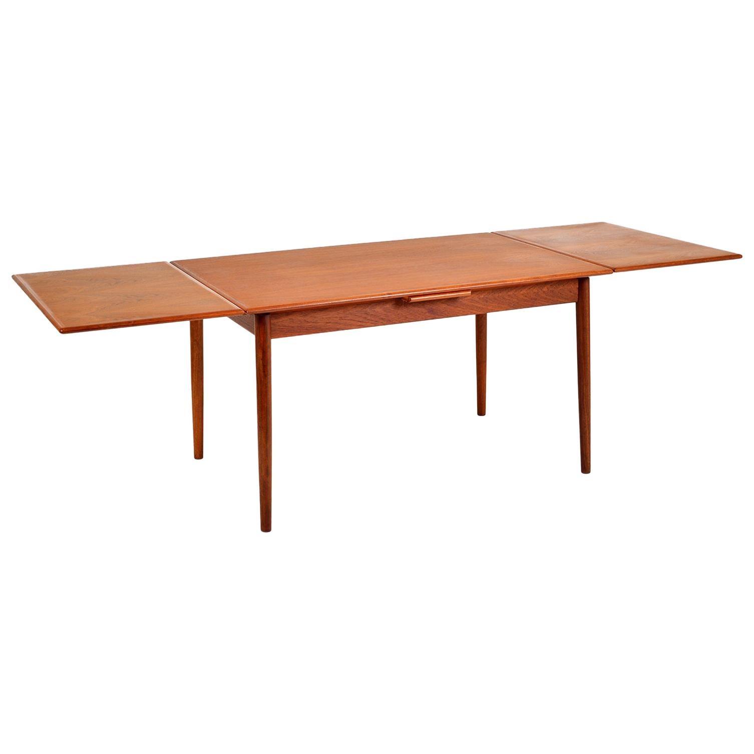 1960s Danish Modern Teak Extending Dining Table AM Ansager Mobler Midcentury