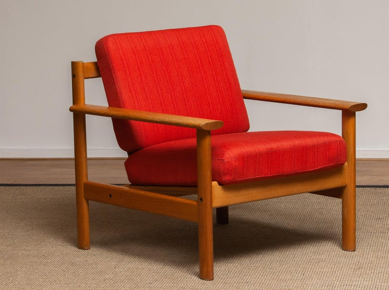 Scandinavian Modern 1960s Danish Oak Volther Style Lounge Easy Chair For Sale
