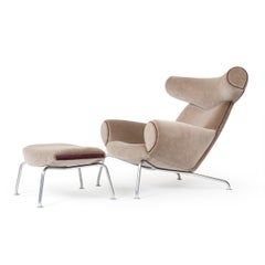 1960s Danish Ox Chair and Ottoman by Hans J. Wegner for A.P. Stolen