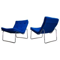 1960s Danish Pair of Fluid Chrome Lounge Chairs in Copenhagen Blue Wool