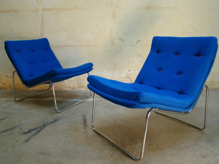 Excellent pair of armless Danish lounge chairs constructed of beautifully contoured chrome steel with