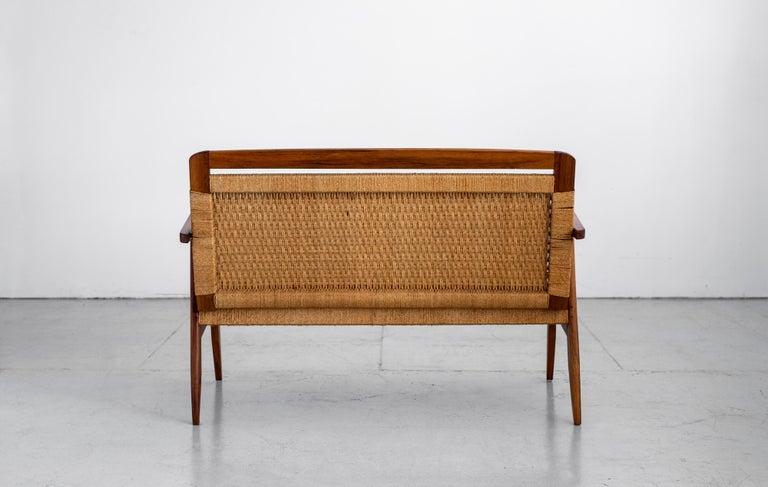 Teak 1960s Danish Rope Bench For Sale