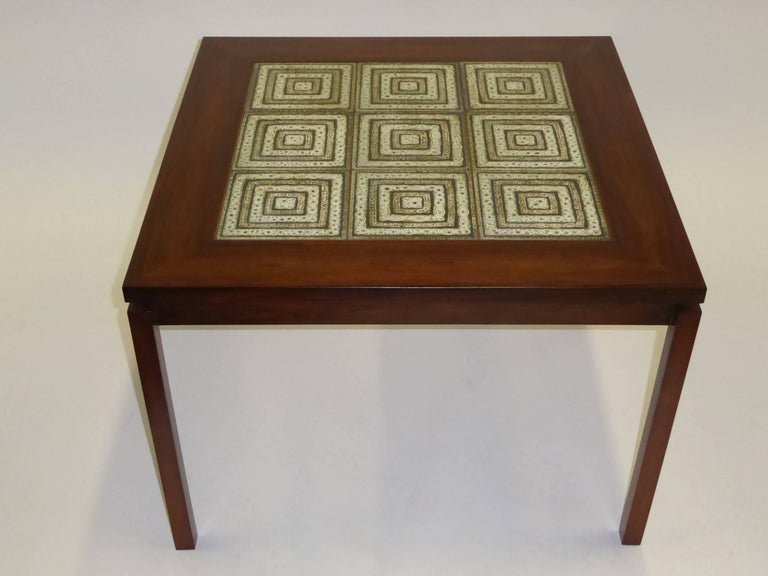 Scandinavian Modern 1960s Danish Rosewood Coffee Side Table with Nils Thorsson Tiles For Sale