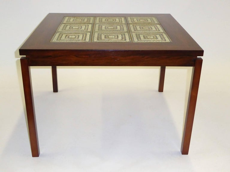 1960s Danish Rosewood Coffee Side Table with Nils Thorsson Tiles In Good Condition For Sale In Miami, FL