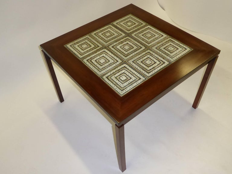 Mid-20th Century 1960s Danish Rosewood Coffee Side Table with Nils Thorsson Tiles For Sale