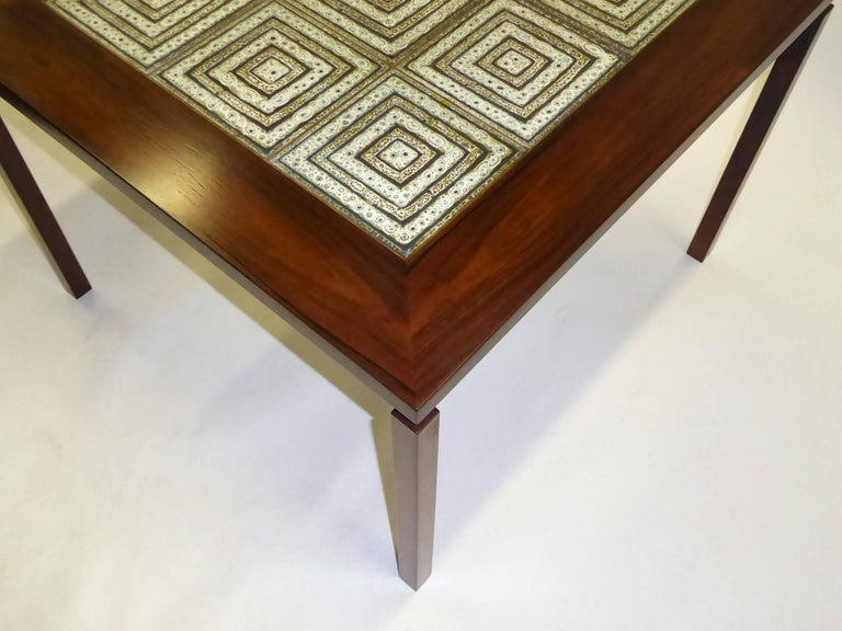 1960s Danish Rosewood Coffee Side Table with Nils Thorsson Tiles For Sale 1