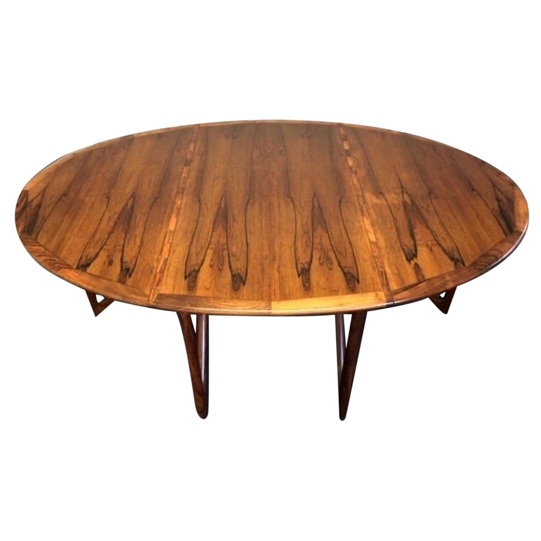 1960s Danish Rosewood Oval Drop-Leaf Kurt Østervig Dining Table for Jason Möbler