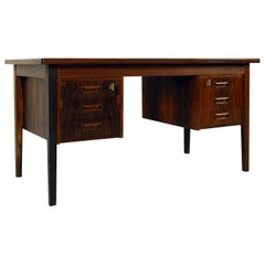 1960s Danish Rosewood Twin Pedestal Freestanding Midcentury Office Desk