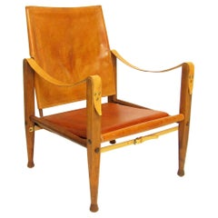 1960s Danish Safari Chair in Tan Leather and Ash by Kaare Klint