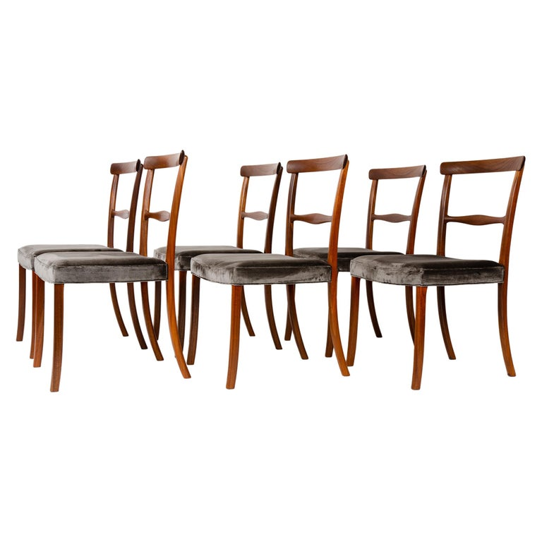 1960s Danish Set of 6 Dining Chairs by Ole Wanscher for A.J. Iversen For Sale