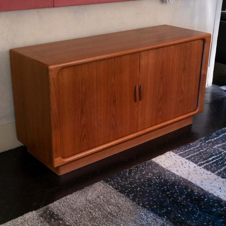 1960s Danish Sideboard by Dyrlund, Teak Organic Tambour Doors For Sale 6
