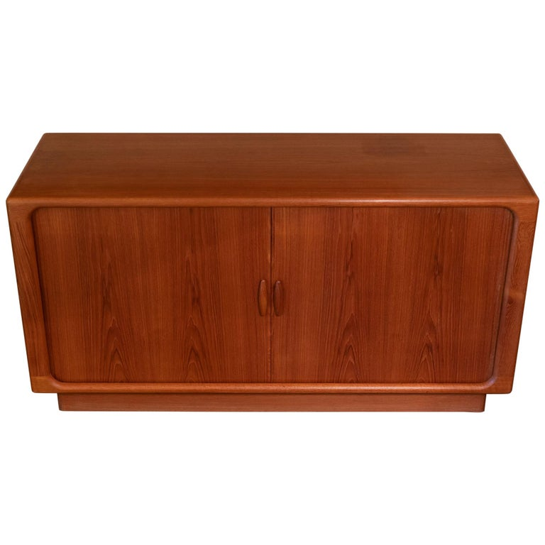 1960s Danish Sideboard by Dyrlund, Teak Organic Tambour Doors For Sale