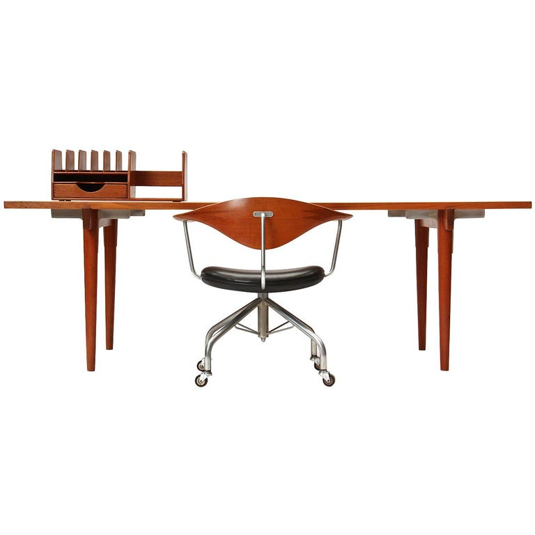 1960s Danish Solid Teak Table / Desk by Hans Wegner for Johannes Hansen For Sale