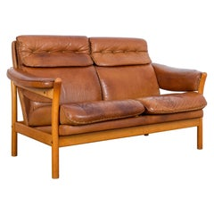 1960s Danish Stitched Leather Sofa