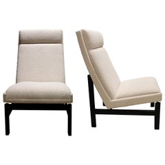 1960s Danish Structural Tall Back Elegant Armchairs in Cream Bouclé Fabric