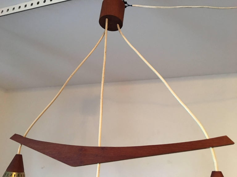 Mid-Century Modern 1960s Danish Teak and Milk Glass Chandelier For Sale