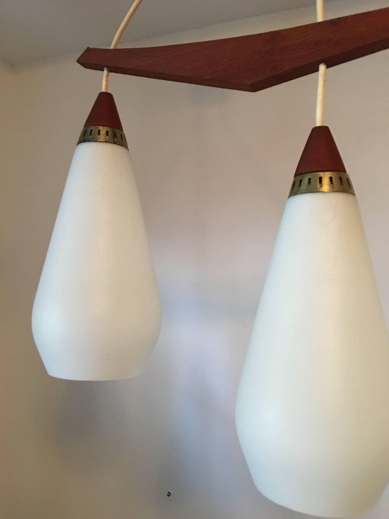 1960s Danish Teak and Milk Glass Chandelier For Sale 2