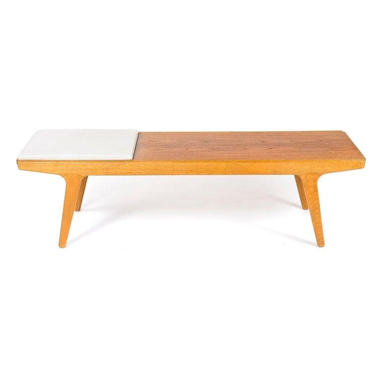 Scandinavian Modern 1960s Danish Teak and Oak Reversible Bench For Sale