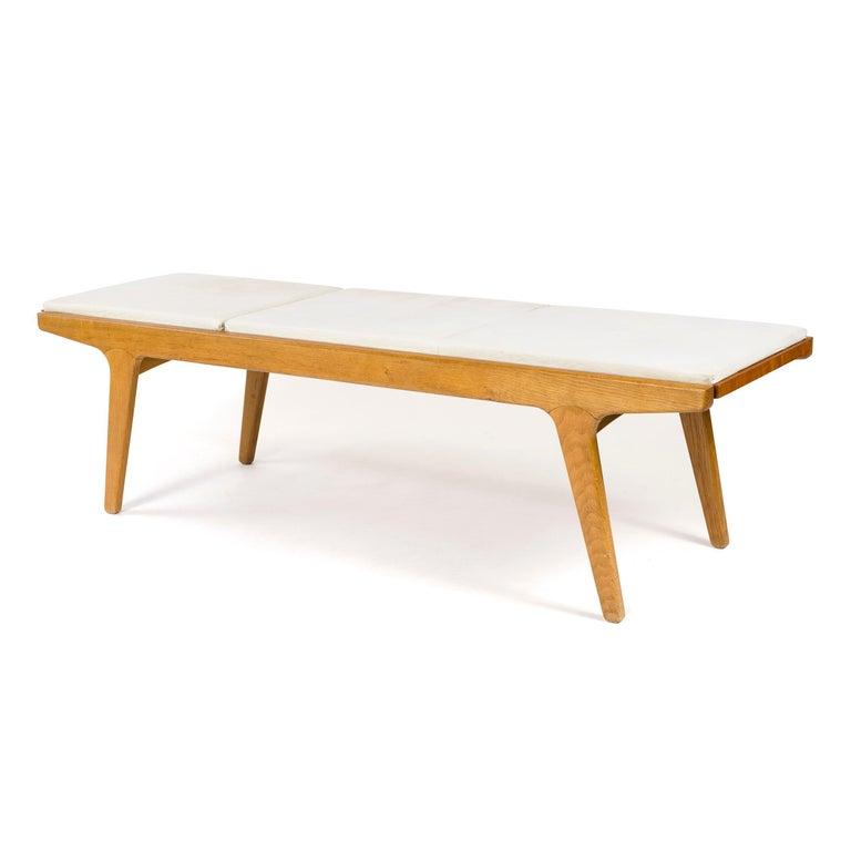 1960s Danish Teak and Oak Reversible Bench For Sale 1