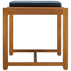 1960s Danish Teak Black Vinyl Teak Flip-top Stool or Table Mid-Century Modern