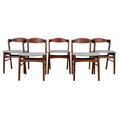 1960s Danish Teak Chairs with Upholstered Seats, Set of Five