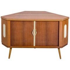 1960s Danish Teak Corner Bar Drinks Cabinet with rotating Shelf