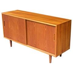 1960s Danish Teak Credenza Record Album LP Storage Shelving Midcentury Cabinet