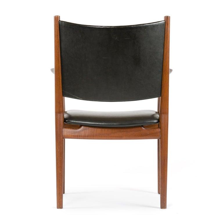 Leather 1960s Danish Teak Dining Chair by Hans J. Wegner for Johannes Hansen For Sale